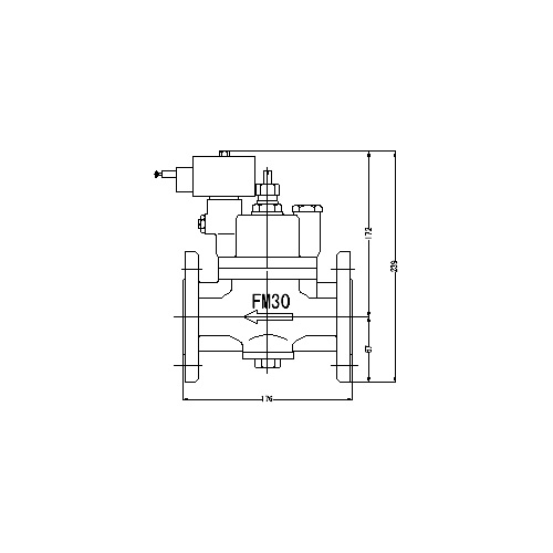 FMバルブ製作所【FMユニットバルブ S-2-2型 30A】(ストレート型) 電磁弁一体型定水位弁 取付タイプ(通電「開」AC100/200V共用 フランジ型) 本体材質:CAC901