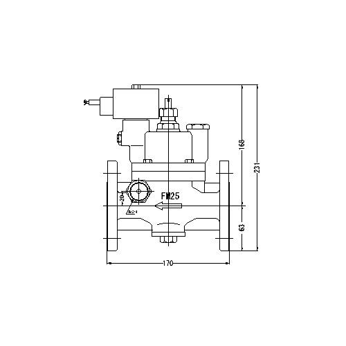 FMバルブ製作所【FMユニットバルブ S-2型 25A】(ストレート型) 電磁弁一体型定水位弁 取付タイプ(通電「開」AC100/200V共用 フランジ型) 本体材質:CAC901