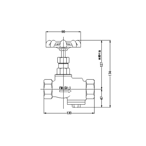 FMバルブ製作所【FMスクリーンバルブ SV型 25A】ストレーナ付ストップバルブ 取付タイプ(ねじ込み型(Rc)) 本体材質:CAC901