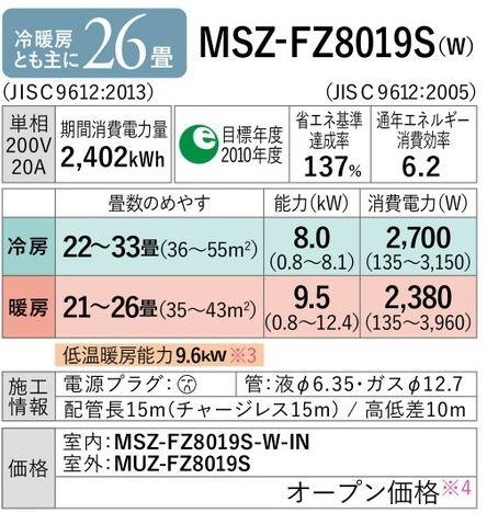 ω三菱 ルームエアコン【MSZ-FZ8019S W】2019年 ピュアホワイト FZシリーズ 単相200V 霧ヶ峰 主に26畳