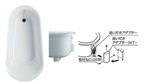 ###TOTO 浴槽 ラフィア【PHS1508C】NW1ホワイト 1500サイズ 据置タイプ 追いだきアダプターカバー付き 受注2週
