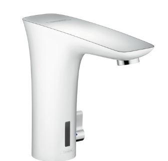ハンスグローエ【15170400】プラビダ 自動混合水栓 温度調節付 ホワイト&クロム (ポップアップ引棒無)