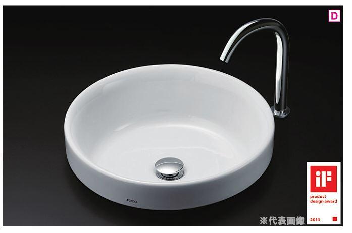 ###TOTO カウンター式洗面器 セット品番【LS703 #NW1+TENA12AL】ホワイト 丸形洗面器 ベッセル式 台付自動水栓(単水栓) 床排水金具(Sトラップ)