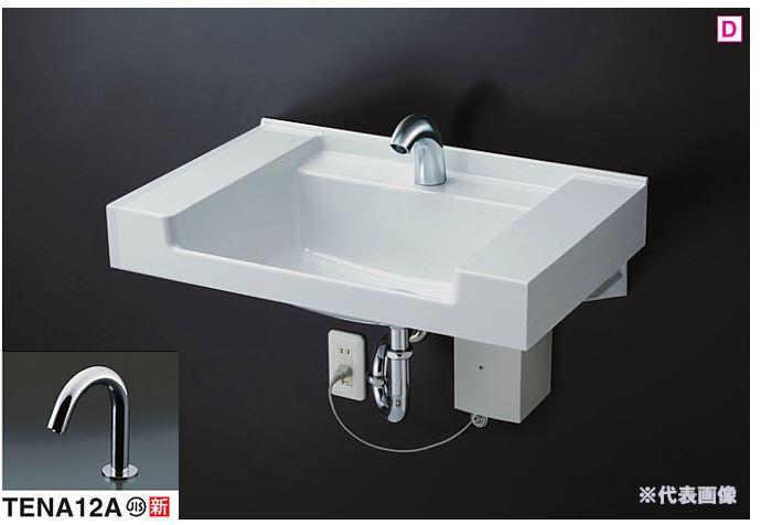###TOTO 壁掛洗面器 セット品番【MVRS45P+TENA12A】ホワイト カウンター一体形洗面器(樹脂製) 台付自動水栓(単水栓) (壁排水用)