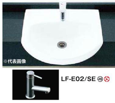 INAX 手洗器セット品番【L-62ANC】はめ込み前丸形手洗器(オーバーカウンター式) シングルレバー単水栓 きれいサテン LF-E02/SE 壁排水(Pトラップ)