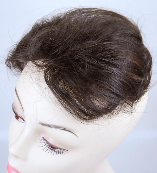 【送料無料】総手植え人毛混のヘアートップピース ショートタイプ(L)/人毛混ハンドメイド部分かつら