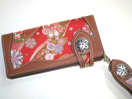 金襴ロングレザー財布、キーホルダー付【楽ギフ_メッセ入力】