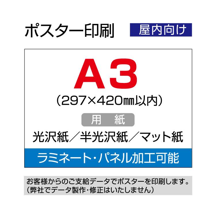 完全データ支給でオリジナルポスター 正規店 ポスター印刷 屋内用 297×420mm以内 A3 高価値