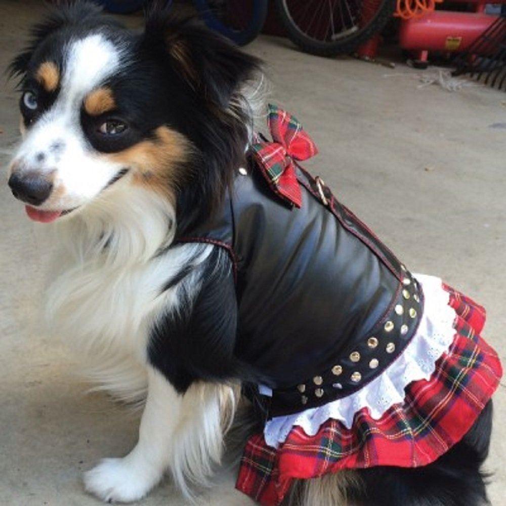 ドレス ハーネス ・ バイカー ・ 赤 チェック【クリアランスセール】 | 犬用 ワンピース