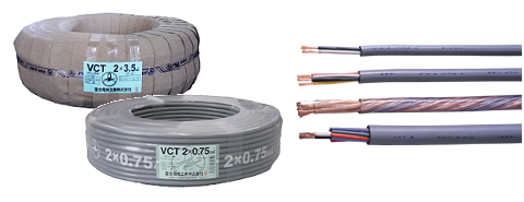 各社 〓 ビニルキャプタイヤケーブル 1巻100メートル 〓 VCT3.5×3芯