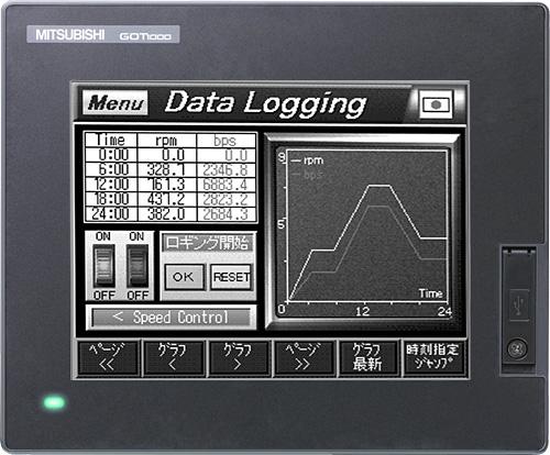 三菱電機 〓 5.7型 QVGA[320×240] STNモノクロ液晶 モノクロ(白/黒)16階調 メモリ9MB DC24V 〓 GT1450-QLBD