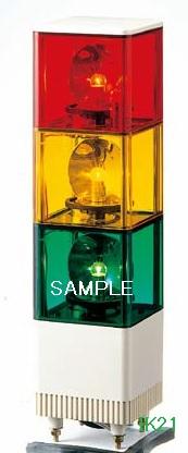 パトライト 〓 電子音積層回転灯 □116 90dB:【色】:赤黄緑 〓 使用電圧:DC24V 〓 KJT-302A-RYG