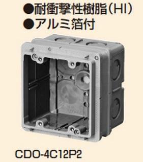 未来工業 【販売単位20個】〓埋込四角アウトレットボックス中極深形(2個用塗代カバー付)〓CDO-4C12P2