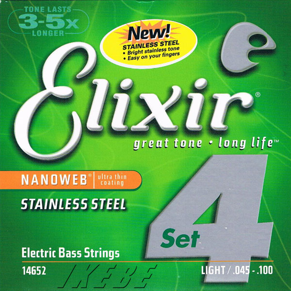 ELIXIR Stainless Steel Bass Strings with ultra-thin NANOWEB Coating (Light/Long) #14652