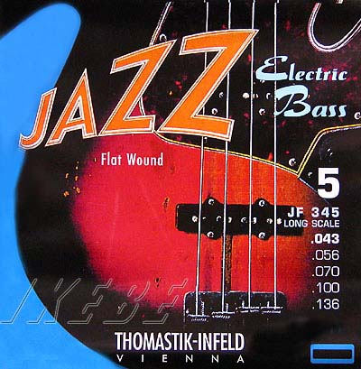 Thomastik-Infeld Electric Bass Strings JF345 [Nickel Flat Wound Roundcore Bass Strings for 5 Strings Long Scale 34 inch 5-strings]