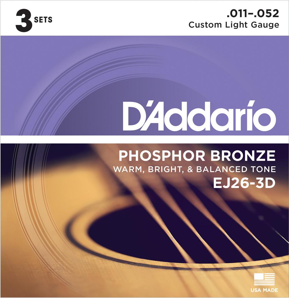 D'Addario EJ26-3D Phosphor Bronze 定番キャンバス Multi-Packs Light ☆新作入荷☆新品 Custom