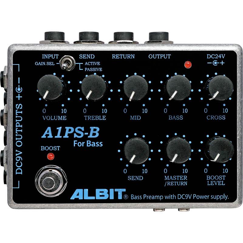 ALBIT A1PS-B [BASS PRE-AMP with DC9V POWER SUPPLY] 【ベースプリアンプ・パワーサプライ】