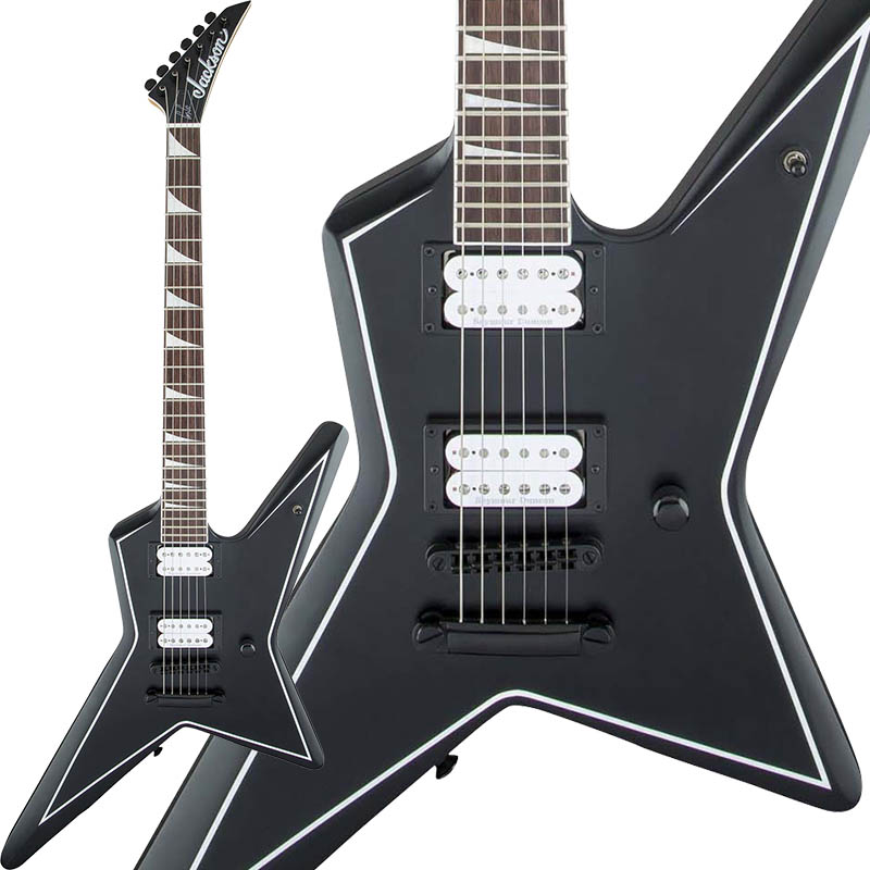 Jackson X Series Signature Gus G. STAR (Satin Black with White Pinstripes) 【お取り寄せ商品】