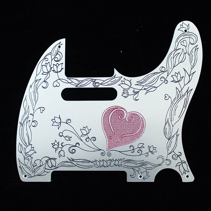 B,W&R Custom Engraved Aluminium Pickguard TL用 Heart BLK RED 【特注品】 【即納可能】