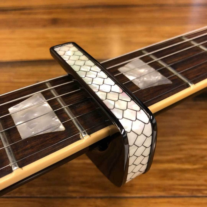 Thalia Capo Black Chrome with Mother of Pearl Dragon Scales Inlay