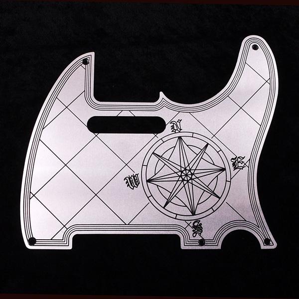 B,W&R Custom Engraved Aluminium Pickguard TL用 Compass BLK 【特注品】