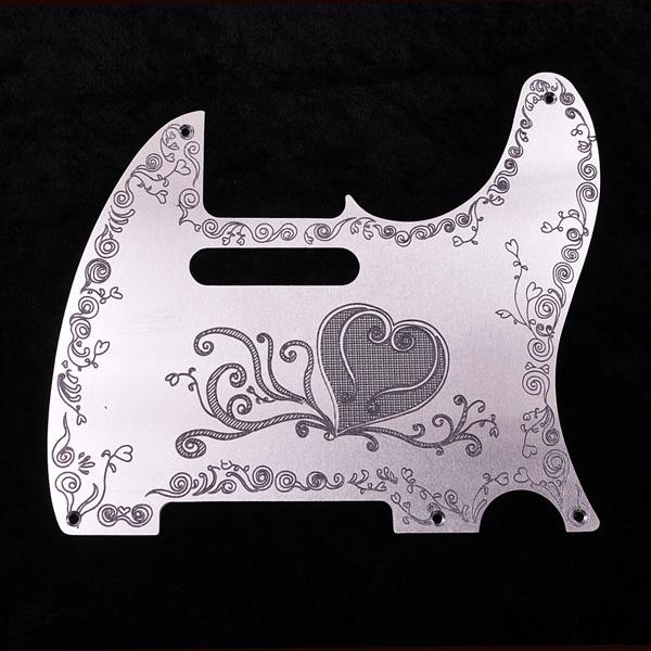 B,W&R Custom Engraved Aluminium Pickguard TL用 Heart Plain 【特注品】