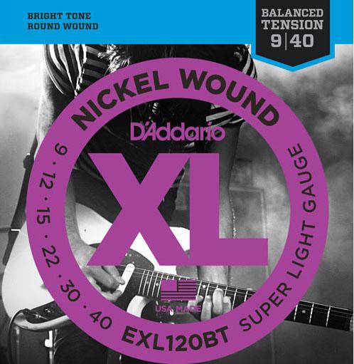 【エレキギター弦】 D'Addario EXL120BT Balanced Tension Nickel Wound Electric Guitar Strings (Super Light)