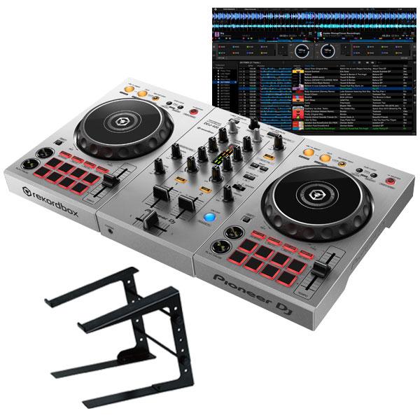 "【PERFORMANCE DJ CONTROLLER】 Pioneer DJ DDJ-400-S ""シルバー""+ PCスタンドセット 【国内池部楽器店限定モデル】 【PowerDJ'sステッカー付き!】"
