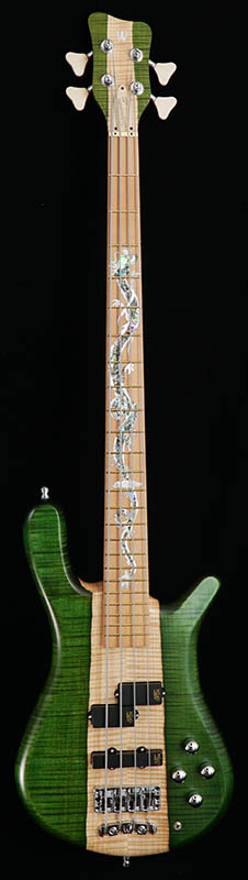 """Warwick Custom Shop Streamer LX4 """"Hand-Selected AAA Coloured Flame Maple Top and White Ebony Fingerboard / Single Dragon inlay with Green LEDs on the Dragon eyes"""" (EGT and NTO) [# B162305-17] 【Factory Order Model 豪華特典!】"""