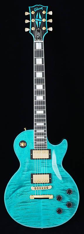 Gibson CUSTOM SHOP Les Paul Custom Figured Plain Top Stealth/Aqua Blue [CS602489] 【ikbp5】