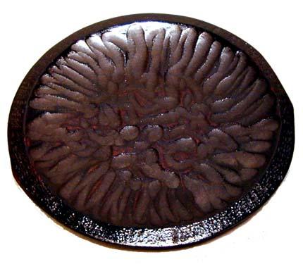 木製漆塗 ノミ打丸皿 19.5cm 5客組