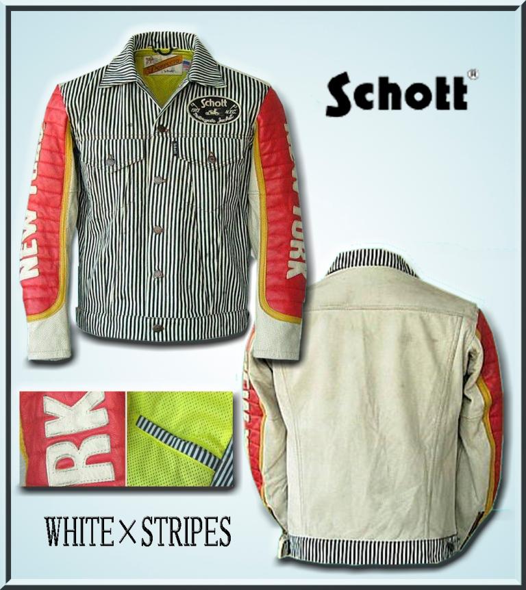 【送料無料】Schott PADDED 60'S RIDERS Jacket 「WHITE×STRIPES」
