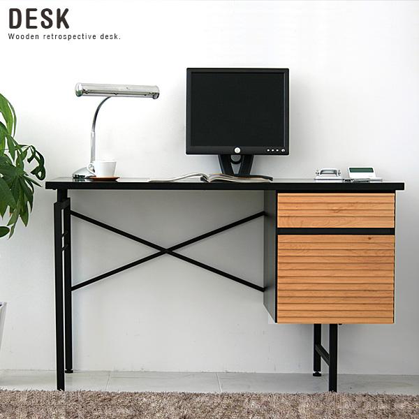 パソコンデスク 120cm幅 収納 おしゃれ 引き出し 北欧 アンティーク風 木製 ブラウン 書斎机 書斎デスク ワークデスク シンプル モダン デザイン かっこいい おすすめ 人気