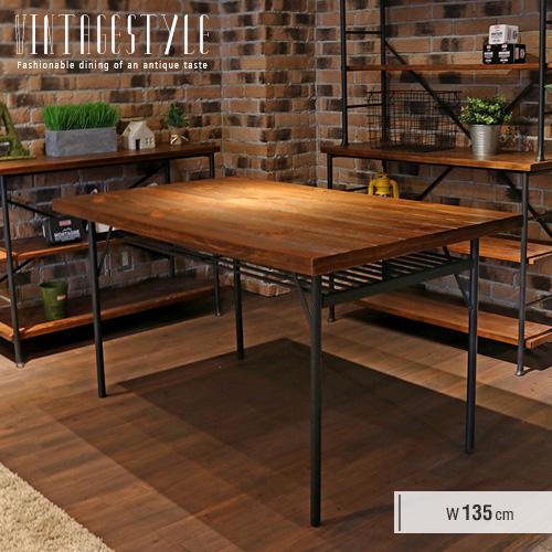 ダイニングテーブル 幅135cm 4人 4人掛け 4人用 アンティーク 北欧 レトロ アイアン スチール カフェ風 カフェテーブル 単品 木製 天然木 パイン材 長方形 インダストリアル風 おしゃれ