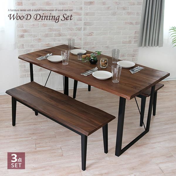 ダイニングテーブルセット 3点 150 ベンチ ウォールナット 無垢材 無垢 アンティーク 北欧 幅150cm ベンチチェア レトロ モダン 和モダン アイアン 一枚板風 4人掛け 4人 4人用 木製 天然木 単品 おしゃれ gkw