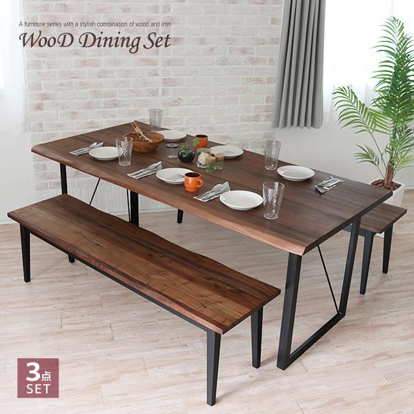 ダイニングテーブルセット 3点 180 ベンチ ウォールナット 無垢材 無垢 アンティーク 北欧 幅180cm ベンチチェア レトロ モダン 和モダン アイアン 一枚板風 6人掛け 6人 6人用 木製 天然木 単品 おしゃれ gkw