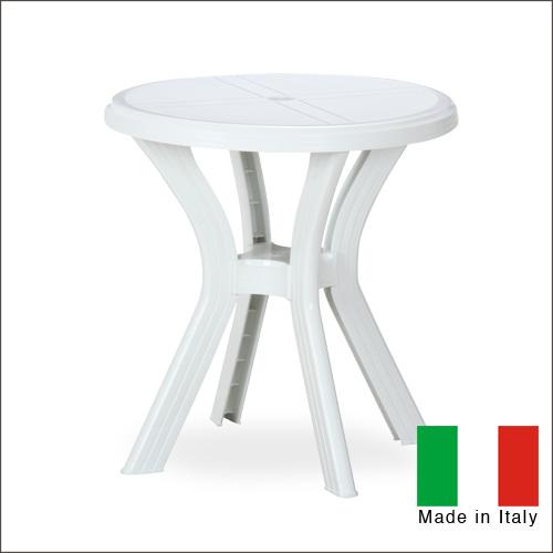 イタリア製 ガーデンテーブル (ラウンド) ELF エルフ | プラスチック 軽い 軽量 テラス 屋外 丸テーブル 円形 カフェテーブル 洗える ホワイト ブラウン オシャレ オシャレ シンプル 送料無料
