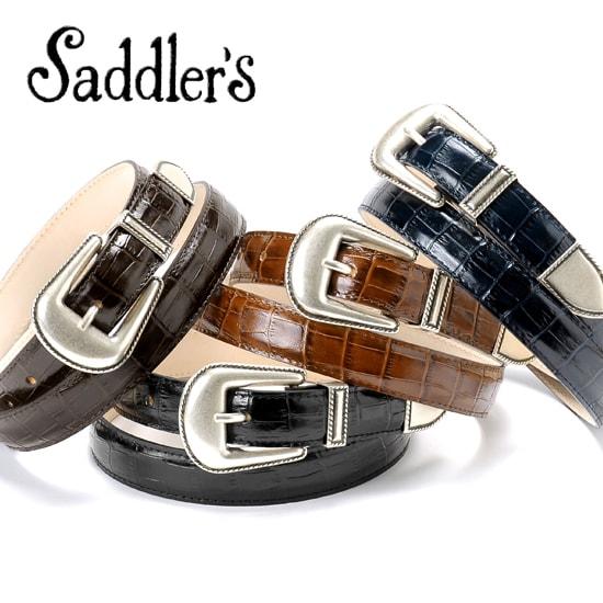 サドラーズ Saddler's/ クロコダイル型押しレザープンターレベルト『G317』(4 colors)ベルト レザー 革 イタリア製 ドレス カジュアル 【ラッピング対応】 | メンズ レザーベルト 革ベルト 皮ベルト カジュアルベルト ブランド 男性 おしゃれ