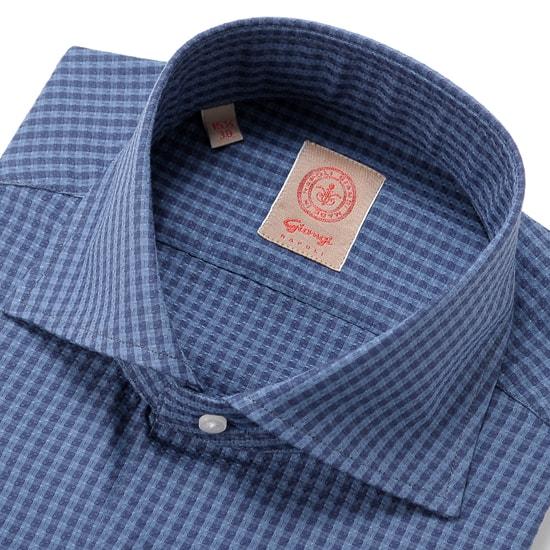 【FINAL SALE/返品・交換不可】ジャンジ GIANGI / 19-20AW!コットンバスケットジャカードギンガムチェックホリゾンタルワイドカラーシャツ「ROMA」(インディゴブルー基調)/ イタリア メンズ カジュアルシャツ ワイシャツ チェックシャツ