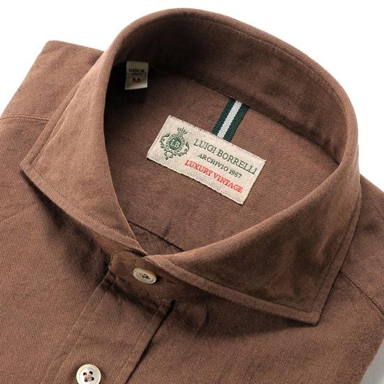 【スーパーSALE/返品・交換不可】ルイジボレッリ ルイジボレリ LUIGI BORRELLI / 製品洗いコットンシャンブレーホリゾンタルカラーシャツ「NA35(8726)」(ブリックブラウン) / あす楽非対応 メンズ ウォッシュ カジュアルシャツ 綿 無地