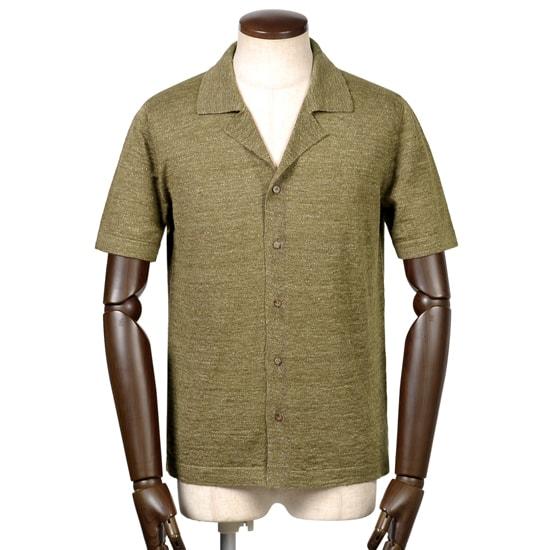 バフィー BAFY / リネンコットンハイゲージ半袖オープンカラーニットシャツ「2695」(オリーブ)/ 春夏 メンズ イタリア ショートスリーブ 開襟シャツ サマーニット サマーセーター 無地 麻