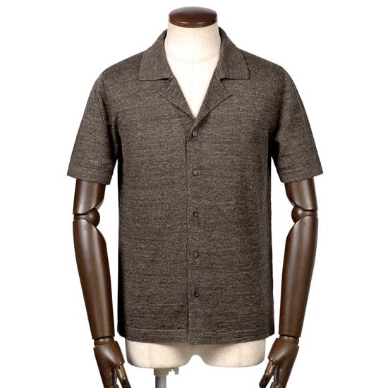 バフィー BAFY / 19SS!リネンコットンハイゲージ半袖オープンカラーニットシャツ『2695』(ダークブラウン)/ 春夏 メンズ イタリア ショートスリーブ 開襟シャツ サマーニット サマーセーター 無地 麻