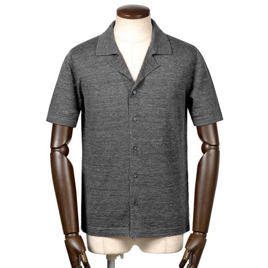 バフィー BAFY / 19SS!リネンコットンハイゲージ半袖オープンカラーニットシャツ『2695』(グレー)/ 春夏 メンズ イタリア ショートスリーブ 開襟シャツ サマーニット サマーセーター 無地 麻