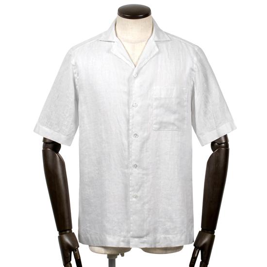バグッタ BAGUTTA / 【国内正規品】 / 20SS!製品洗いリネンポプリン半袖オープンカラーシャツ「MAUI」(ホワイト)/ メンズ イタリア クールビズ 半袖シャツ 麻シャツ リネンシャツ 無地