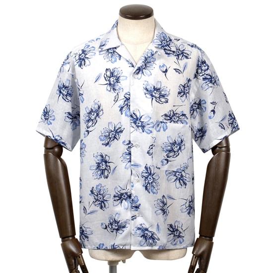 バルバ ダンディライフ BARBA DANDYLIFE / 【国内正規品】 / 20SS!リネンポプリンフラワープリント半袖オープンカラーシャツ「PB OVER」(ホワイト基調)/ メンズ イタリア 手縫い 半袖シャツ 麻シャツ リネンシャツ アロハシャツ