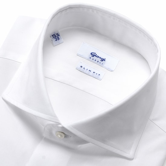 ジャンジ GIANGI / 20SS!コットン120番手双糸ポプリンホリゾンタルワイドカラーシャツ「ROMA」(ホワイト)/ メンズ イタリア ドレスシャツ ビジネスシャツ ワイシャツ 無地