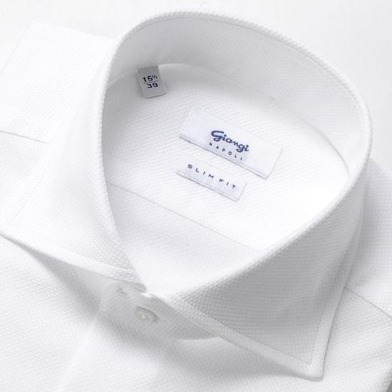 ジャンジ GIANGI / 20SS!コットンハニカムメッシュホリゾンタルワイドカラーシャツ「ROMA」(ホワイト)/ 春夏 メンズ イタリア ドレスシャツ ビジネスシャツ ワイシャツ 無地 カラミ織り