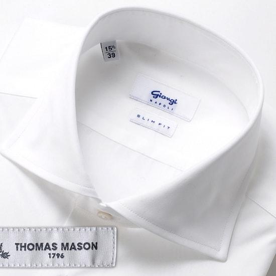 ジャンジ GIANGI / 20SS!THOMAS MASONコットン120番手双糸ポプリンホリゾンタルワイドカラーシャツ「ROMA」(ホワイト)/ メンズ イタリア ドレスシャツ ビジネスシャツ ワイシャツ トーマスメイソン 無地