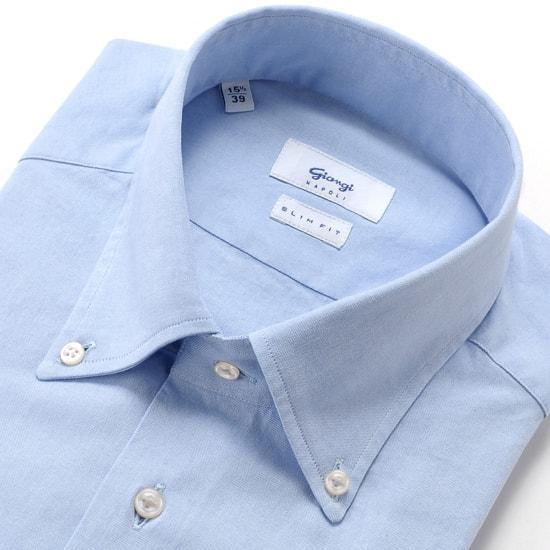 ジャンジ GIANGI / 20SS!コットン80番手双糸ピンポイントオックスフォードボタンダウンカラーシャツ「CASERTA」(サックスブルー)/ メンズ イタリア ドレスシャツ ビジネスシャツ ワイシャツ ボタンダウンシャツ 無地