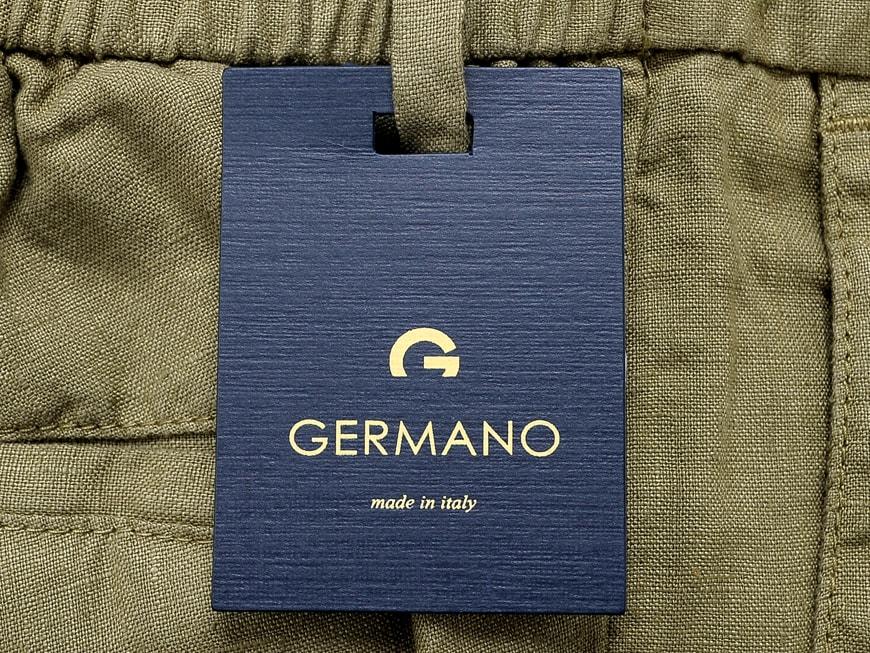 SALE ジェルマーノ GERMANO20SS 製品染めリネンポプリン1プリーツドローコードパンツ 523G 8919PwOkn08